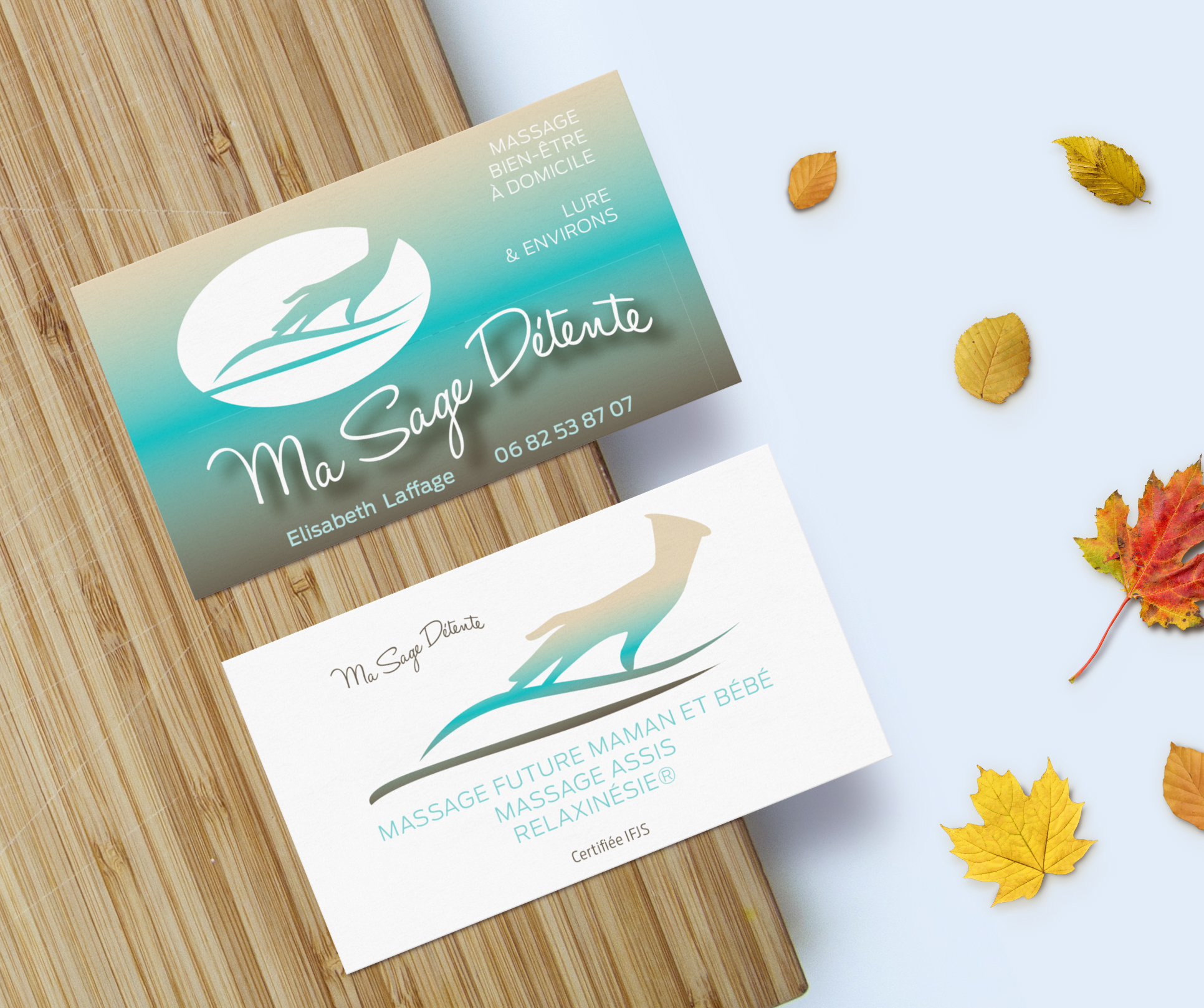 carte de visite + logo massage